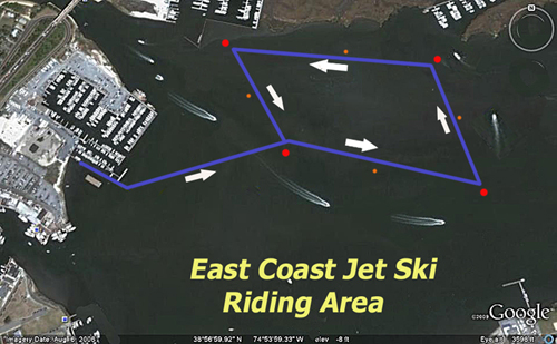 East Coast Jet Ski Riding Area map
